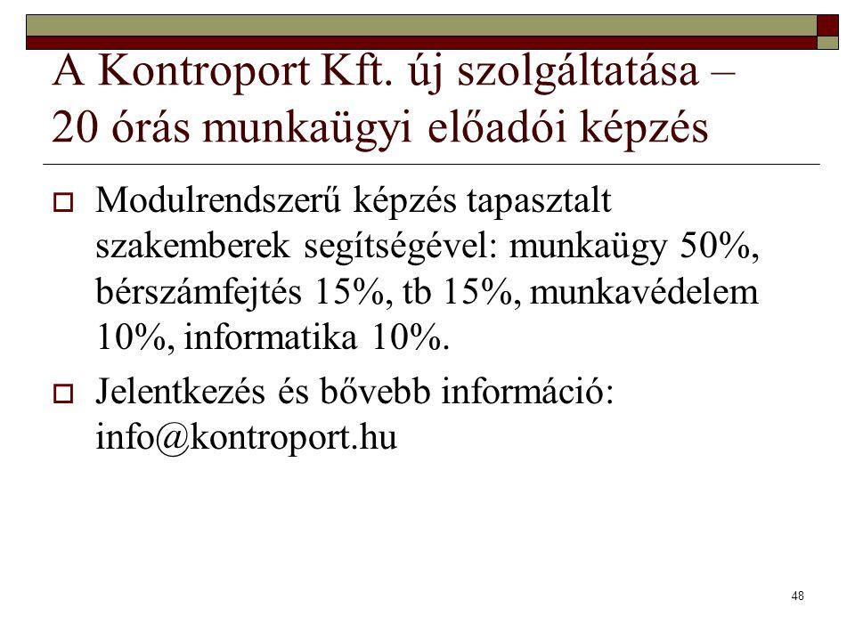 A Kontroport Kft. új szolgáltatása – 20 órás munkaügyi előadói képzés