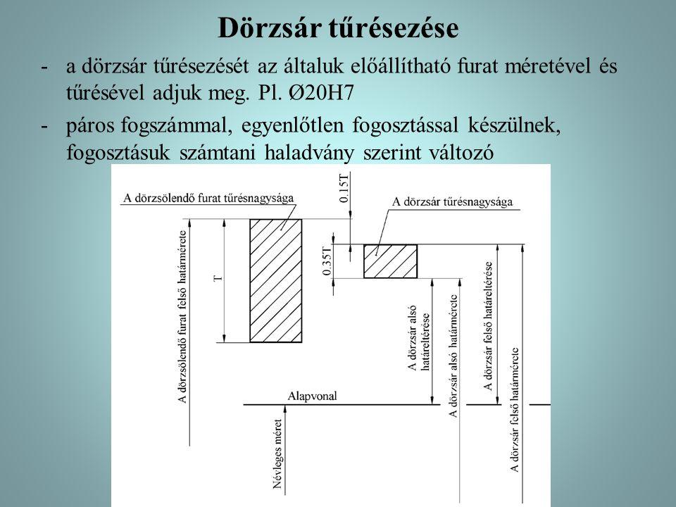 Dörzsár tűrésezése a dörzsár tűrésezését az általuk előállítható furat méretével és tűrésével adjuk meg. Pl. Ø20H7.