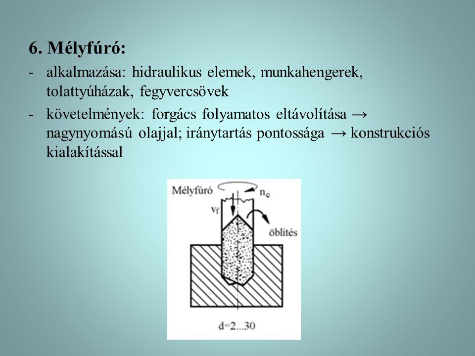 6. Mélyfúró: alkalmazása: hidraulikus elemek, munkahengerek, tolattyúházak, fegyvercsövek.