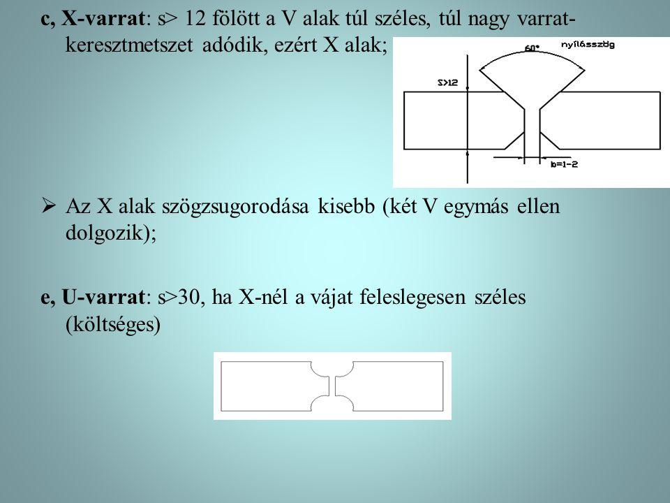 c, X-varrat: s> 12 fölött a V alak túl széles, túl nagy varrat-keresztmetszet adódik, ezért X alak;