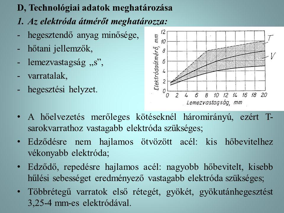 D, Technológiai adatok meghatározása