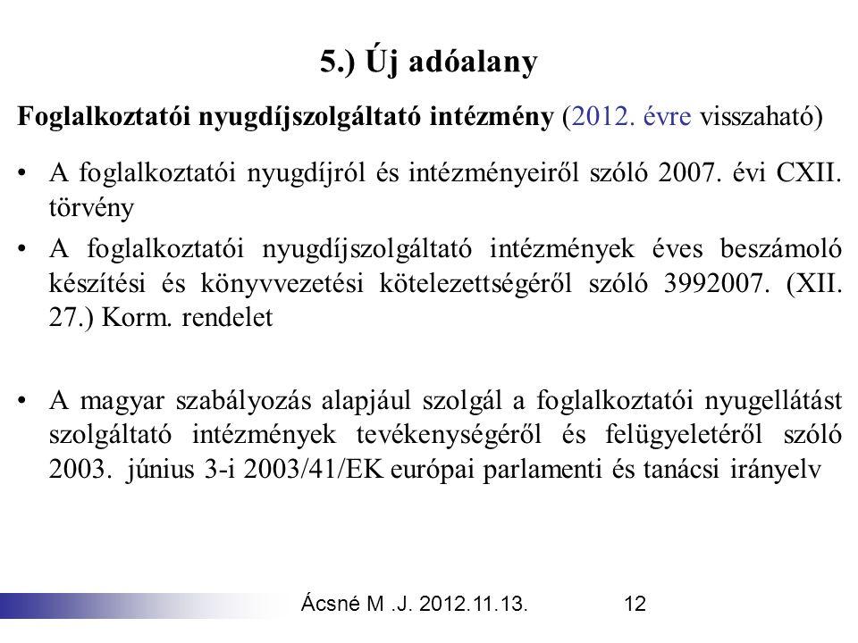 5.) Új adóalany Foglalkoztatói nyugdíjszolgáltató intézmény (2012. évre visszaható)