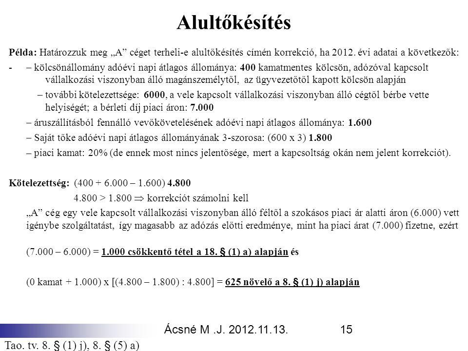 Alultőkésítés Ácsné M .J. 2012.11.13.