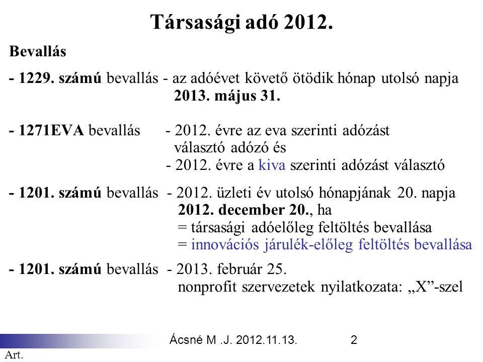 Társasági adó 2012. Bevallás