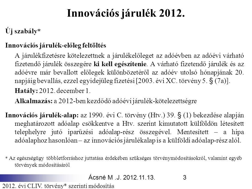 Innovációs járulék 2012. Új szabály*