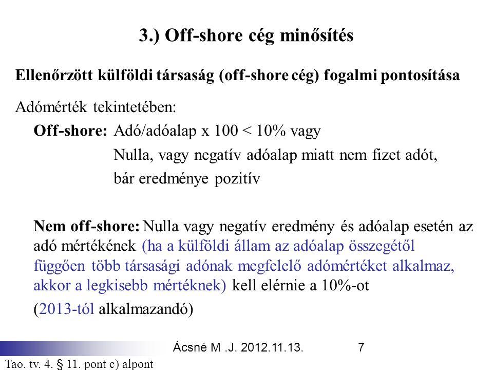 3.) Off-shore cég minősítés