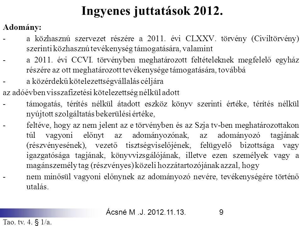 Ingyenes juttatások 2012. Adomány: