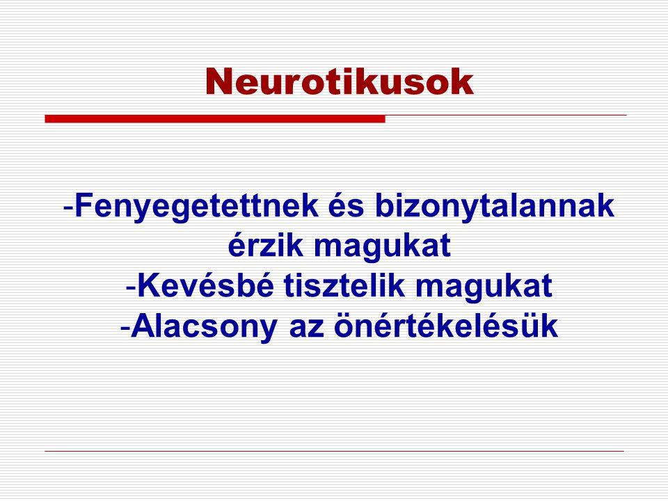 Neurotikusok Fenyegetettnek és bizonytalannak érzik magukat