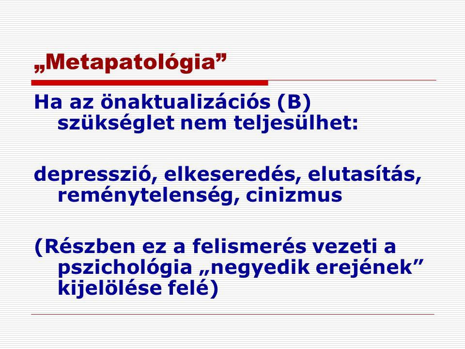 """""""Metapatológia Ha az önaktualizációs (B) szükséglet nem teljesülhet:"""