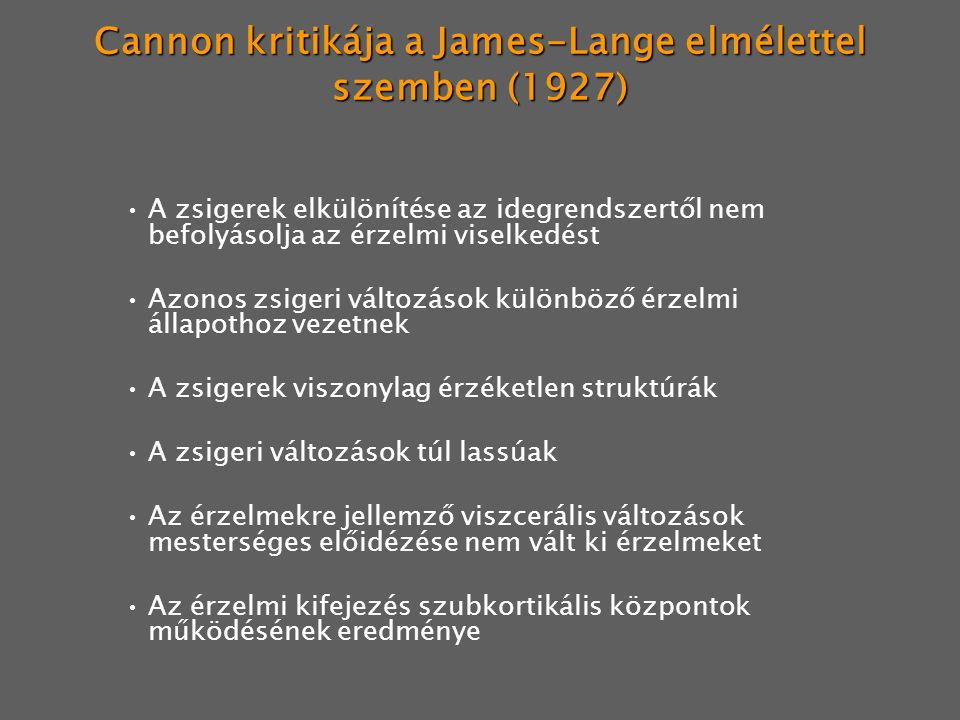 Cannon kritikája a James-Lange elmélettel szemben (1927)
