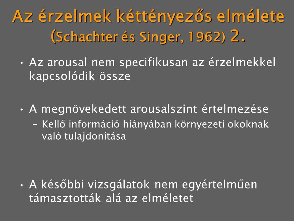 Az érzelmek kéttényezős elmélete (Schachter és Singer, 1962) 2.