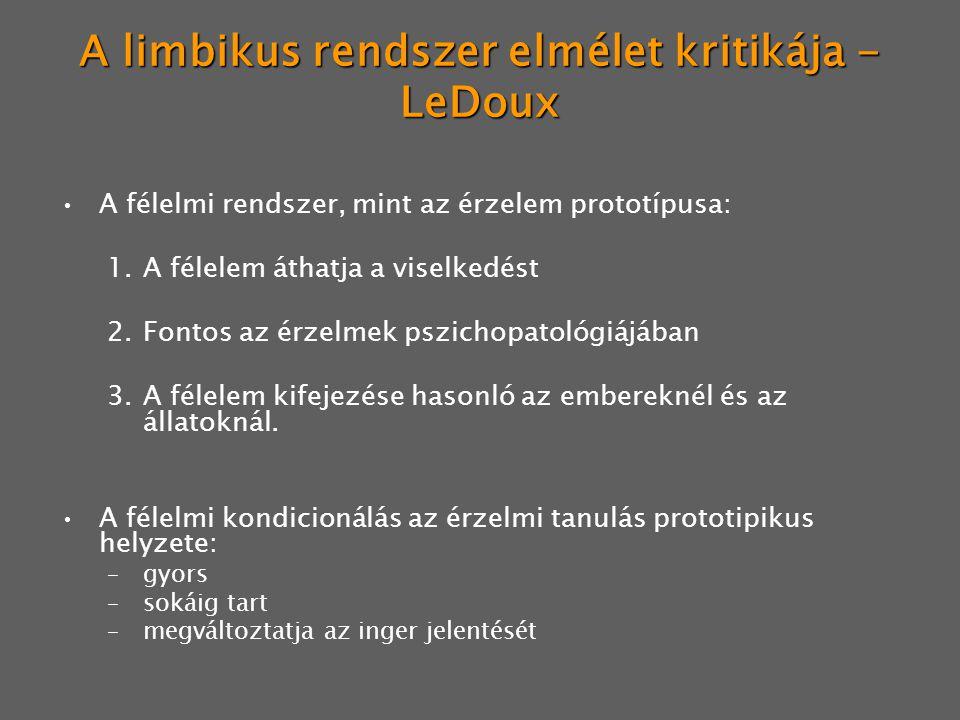 A limbikus rendszer elmélet kritikája - LeDoux