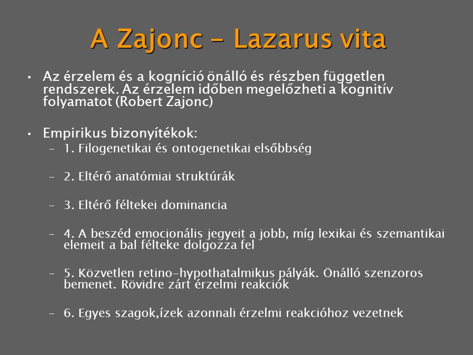 A Zajonc - Lazarus vita