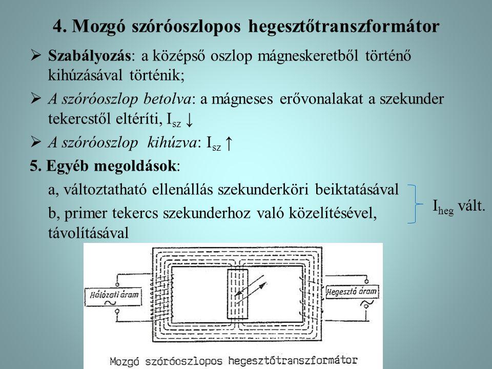 4. Mozgó szóróoszlopos hegesztőtranszformátor