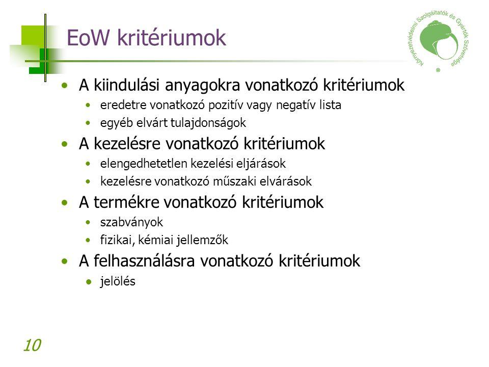 EoW kritériumok A kiindulási anyagokra vonatkozó kritériumok