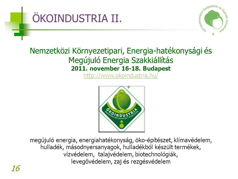 ÖKOINDUSTRIA II. Nemzetközi Környezetipari, Energia-hatékonysági és