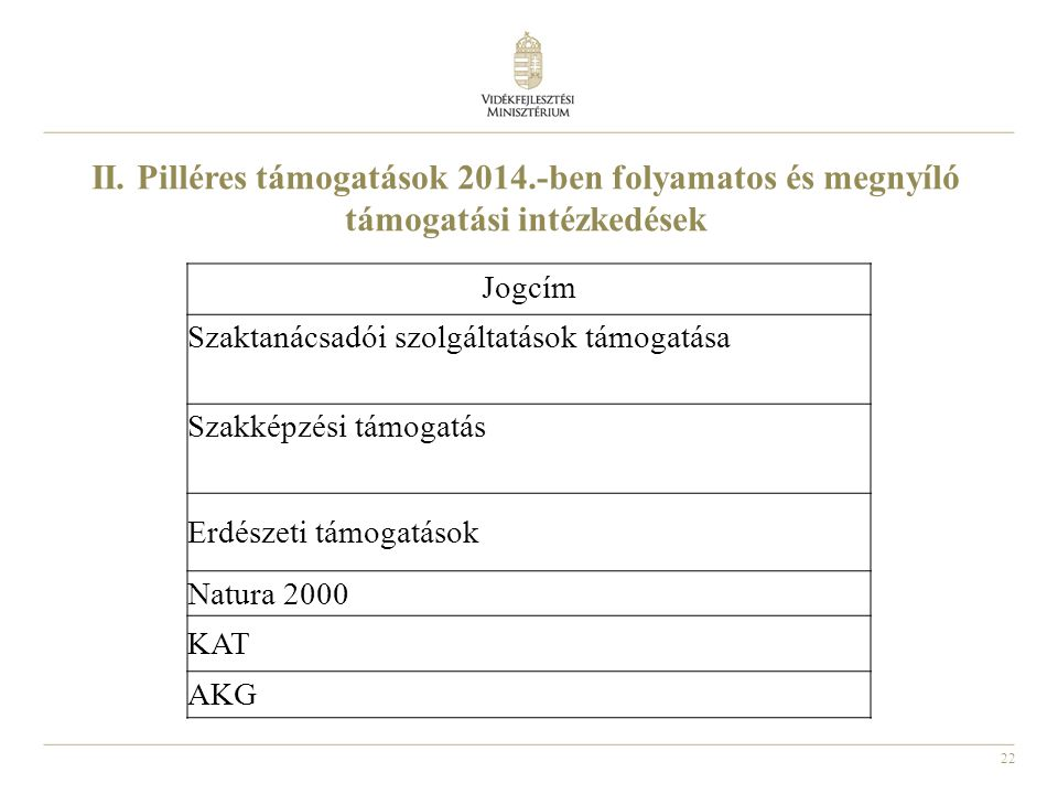 II. Pilléres támogatások 2014