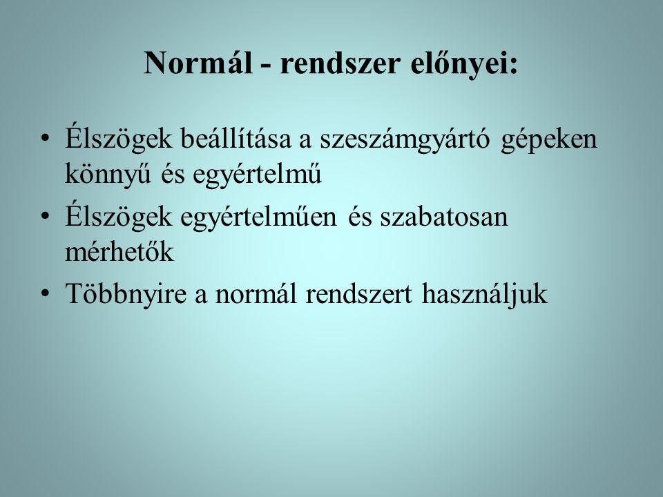 Normál - rendszer előnyei: