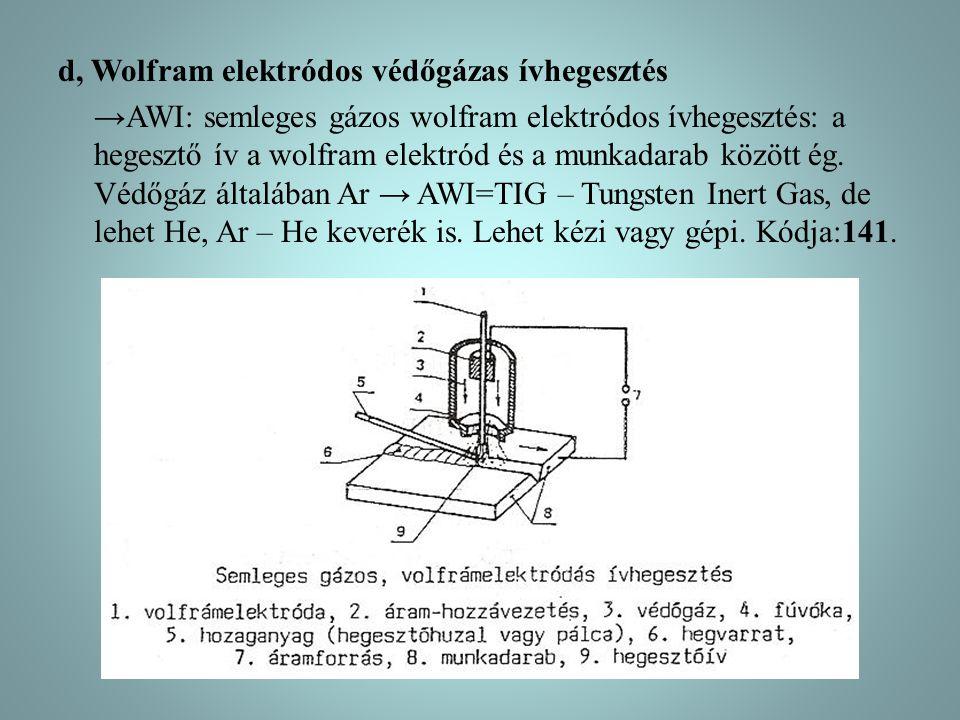 d, Wolfram elektródos védőgázas ívhegesztés →AWI: semleges gázos wolfram elektródos ívhegesztés: a hegesztő ív a wolfram elektród és a munkadarab között ég.