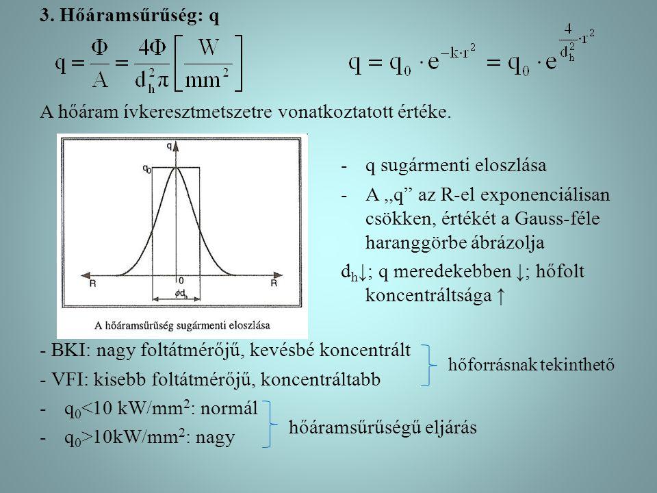 3. Hőáramsűrűség: q A hőáram ívkeresztmetszetre vonatkoztatott értéke.