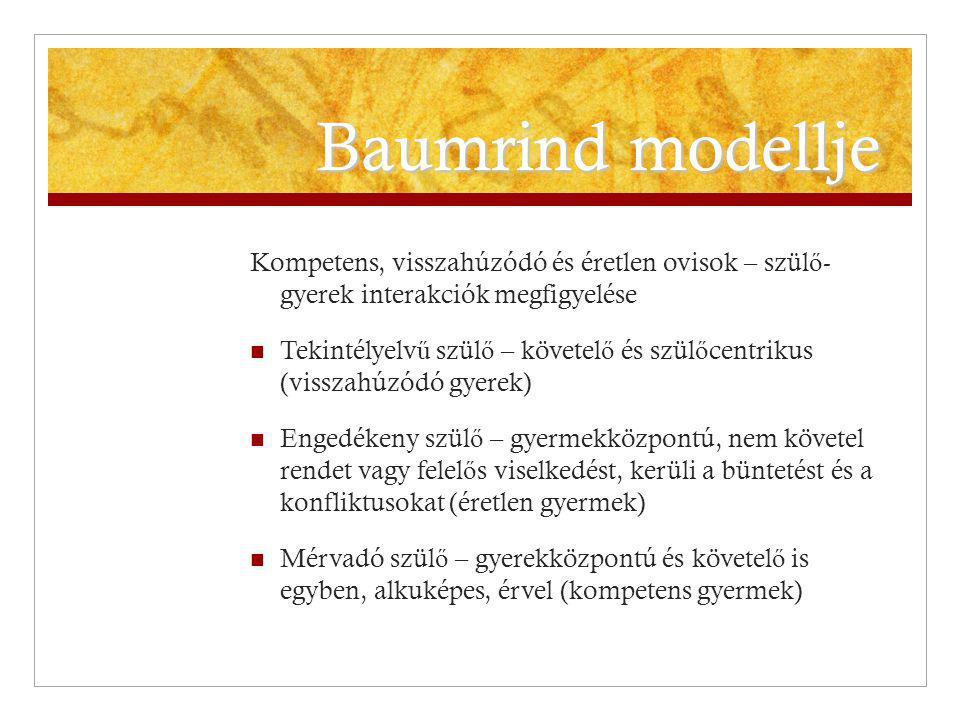 Baumrind modellje Kompetens, visszahúzódó és éretlen ovisok – szülő- gyerek interakciók megfigyelése.