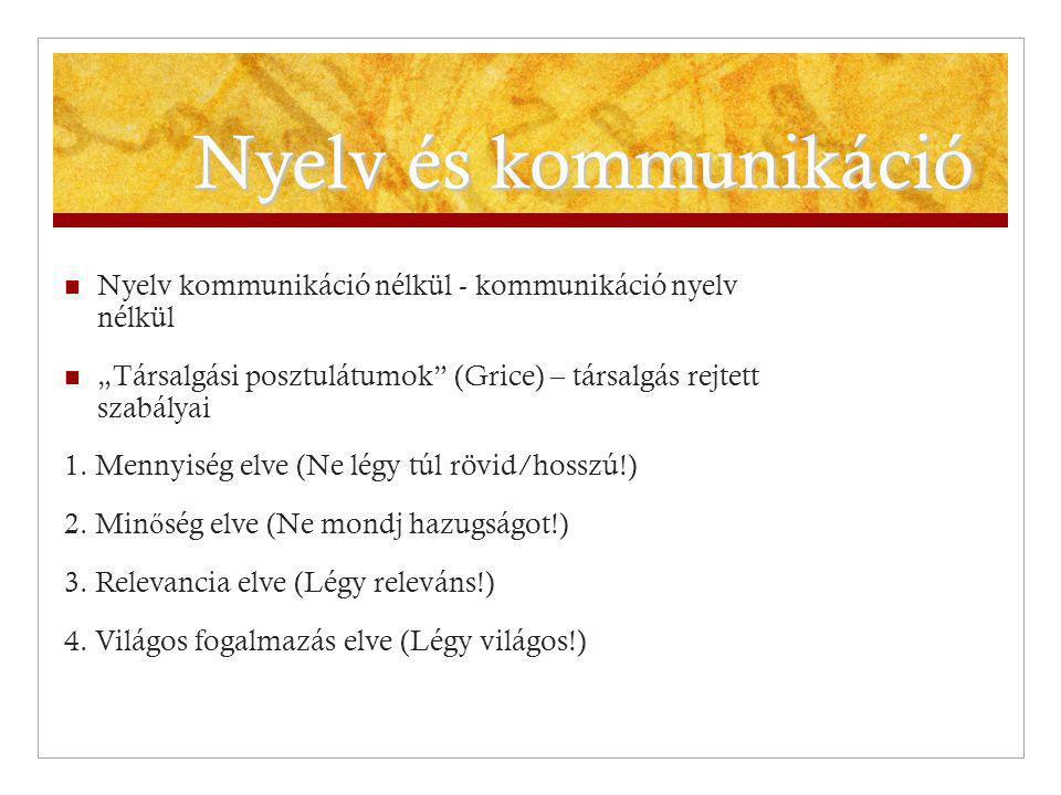 """Nyelv és kommunikáció Nyelv kommunikáció nélkül - kommunikáció nyelv nélkül. """"Társalgási posztulátumok (Grice) – társalgás rejtett szabályai."""