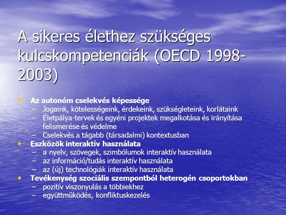 A sikeres élethez szükséges kulcskompetenciák (OECD 1998-2003)