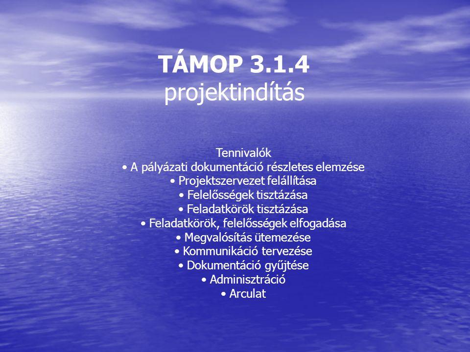 TÁMOP 3.1.4 projektindítás Tennivalók