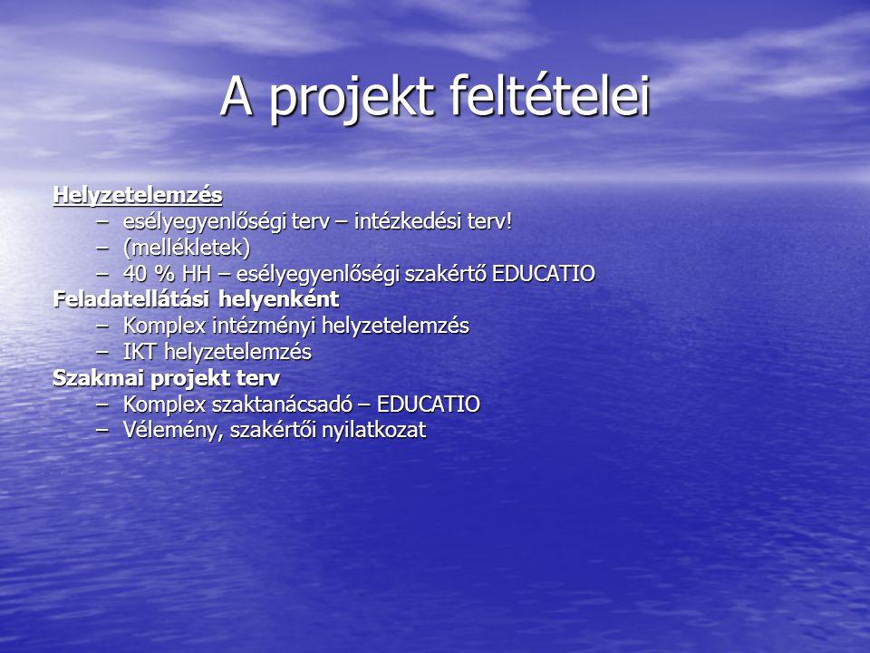 A projekt feltételei Helyzetelemzés