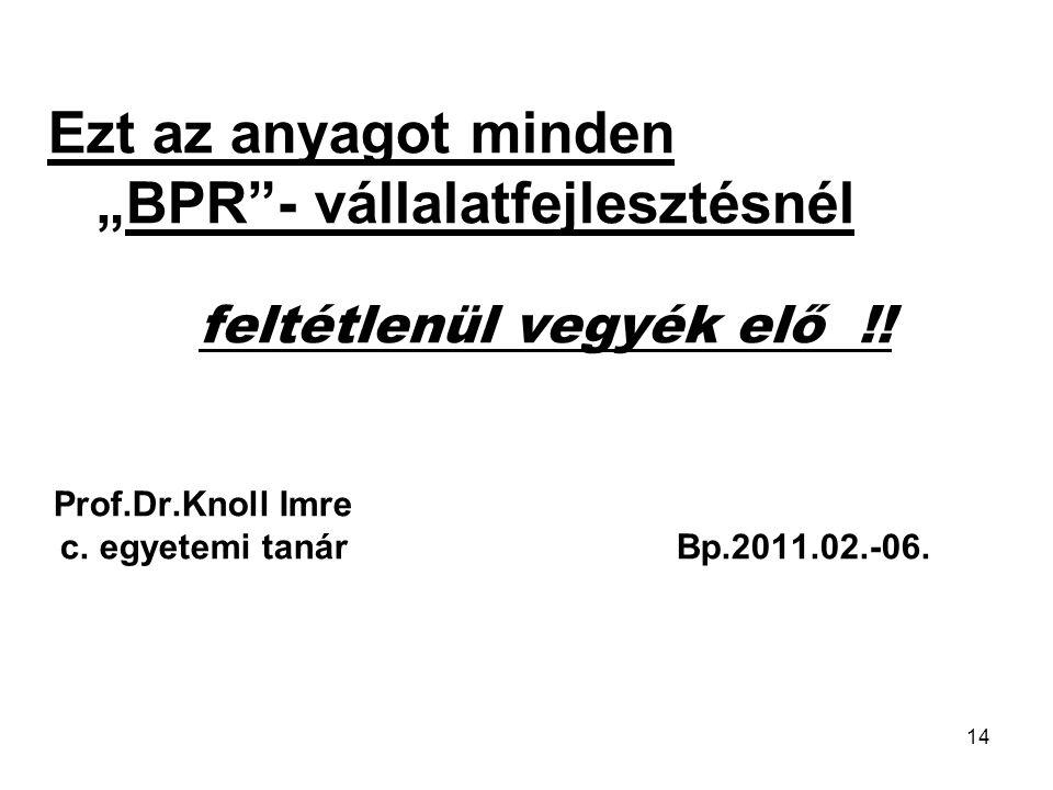 """""""BPR - vállalatfejlesztésnél"""