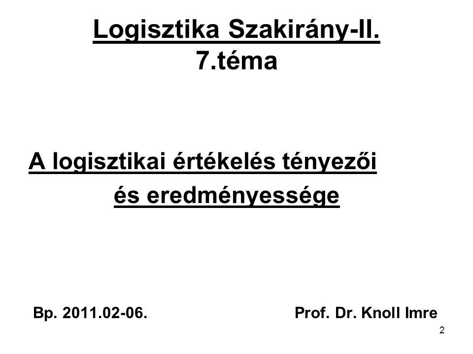 Logisztika Szakirány-II. 7.téma