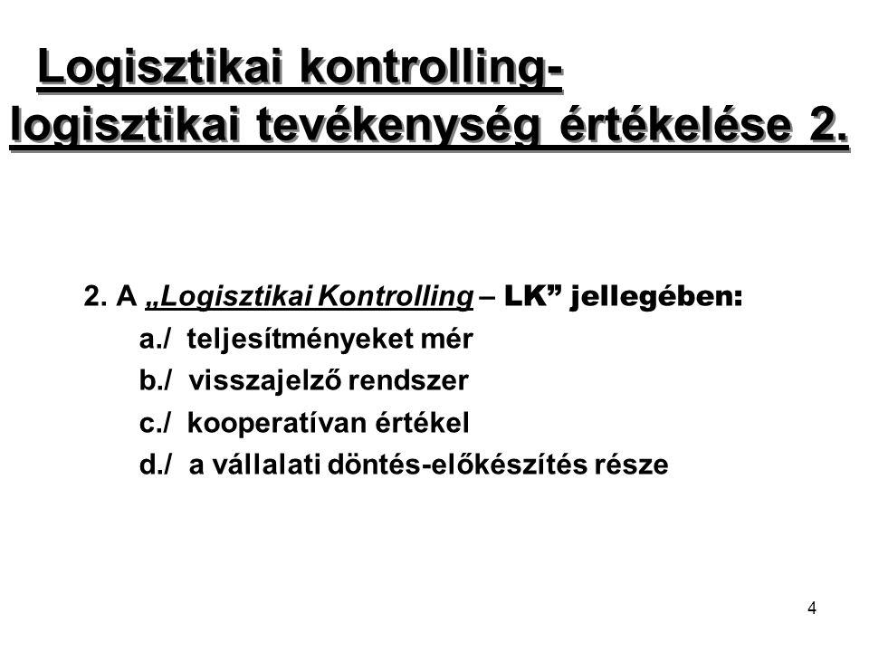 Logisztikai kontrolling- logisztikai tevékenység értékelése 2.