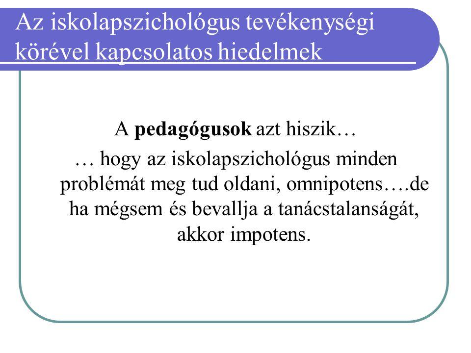 Az iskolapszichológus tevékenységi körével kapcsolatos hiedelmek