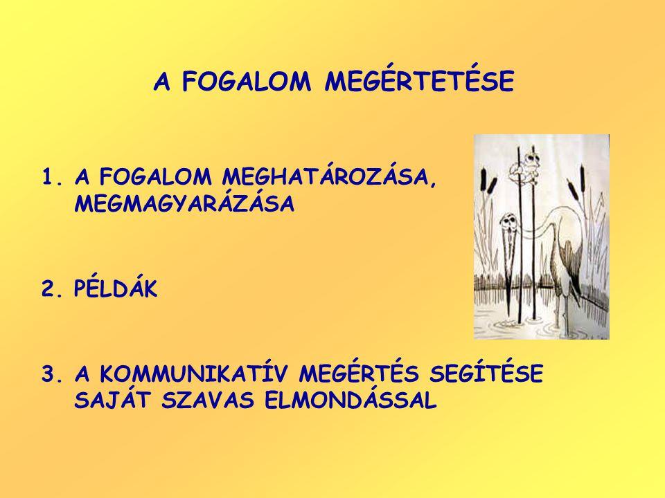 A FOGALOM MEGÉRTETÉSE A FOGALOM MEGHATÁROZÁSA, MEGMAGYARÁZÁSA PÉLDÁK