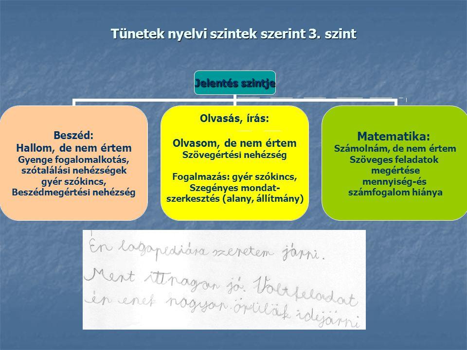 Tünetek nyelvi szintek szerint 3. szint