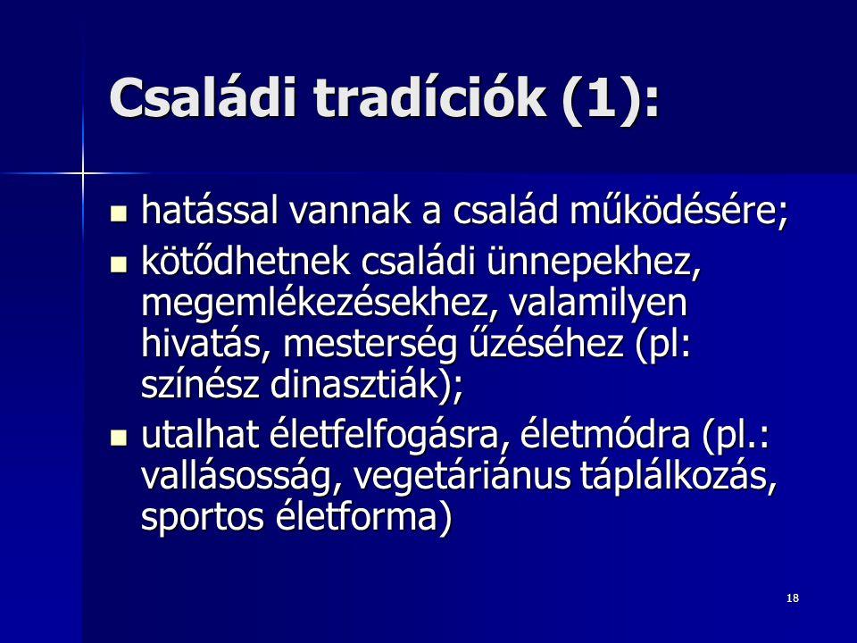 Családi tradíciók (1): hatással vannak a család működésére;