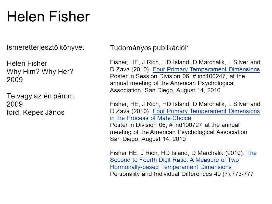Helen Fisher Ismeretterjesztő könyve: Tudományos publikációi: