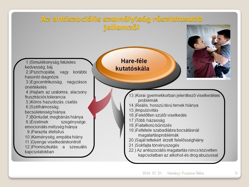 Az antiszociális személyiség részletesebb jellemzői