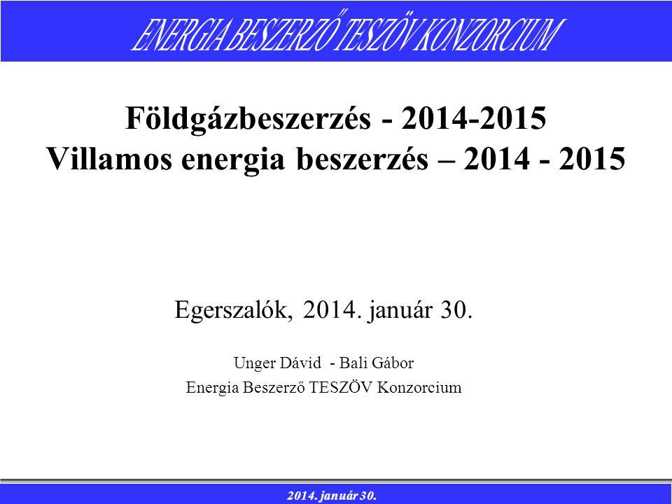 Földgázbeszerzés - 2014-2015 Villamos energia beszerzés – 2014 - 2015