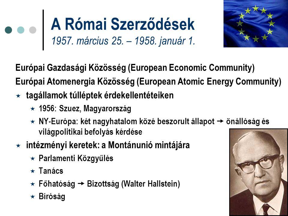 A Római Szerződések 1957. március 25. – 1958. január 1.