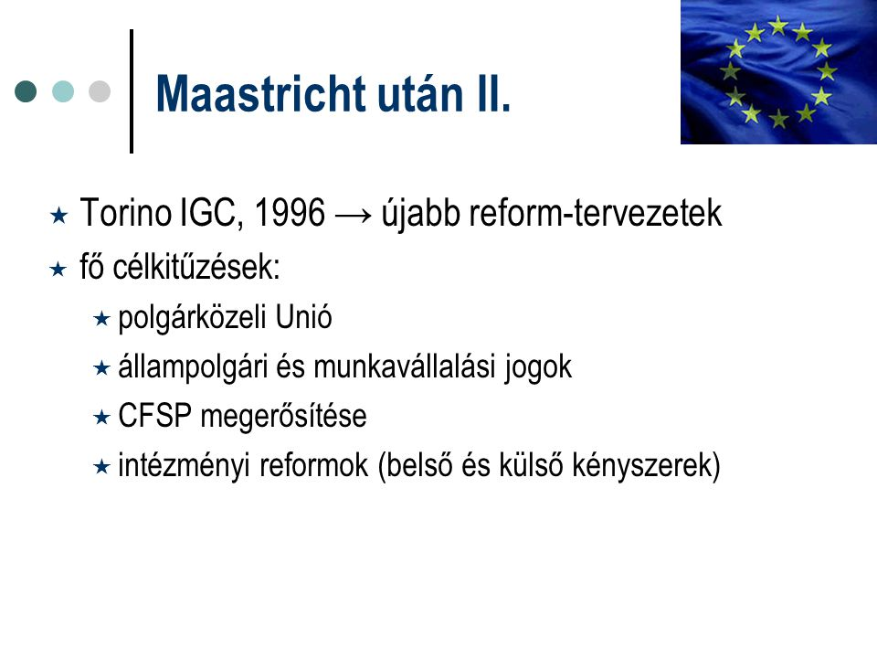 Maastricht után II. Torino IGC, 1996 → újabb reform-tervezetek