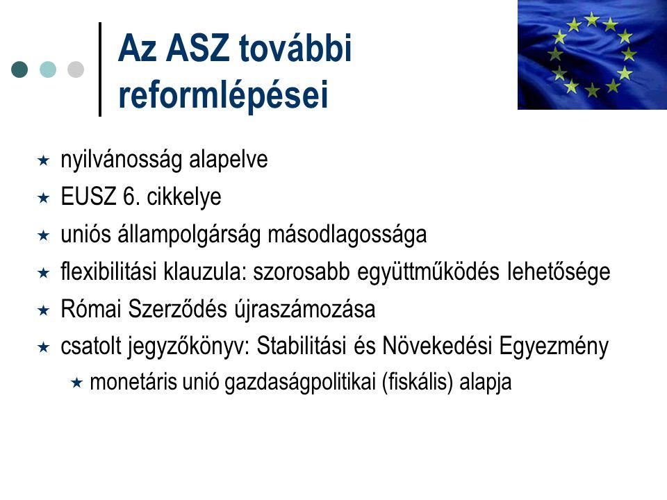 Az ASZ további reformlépései