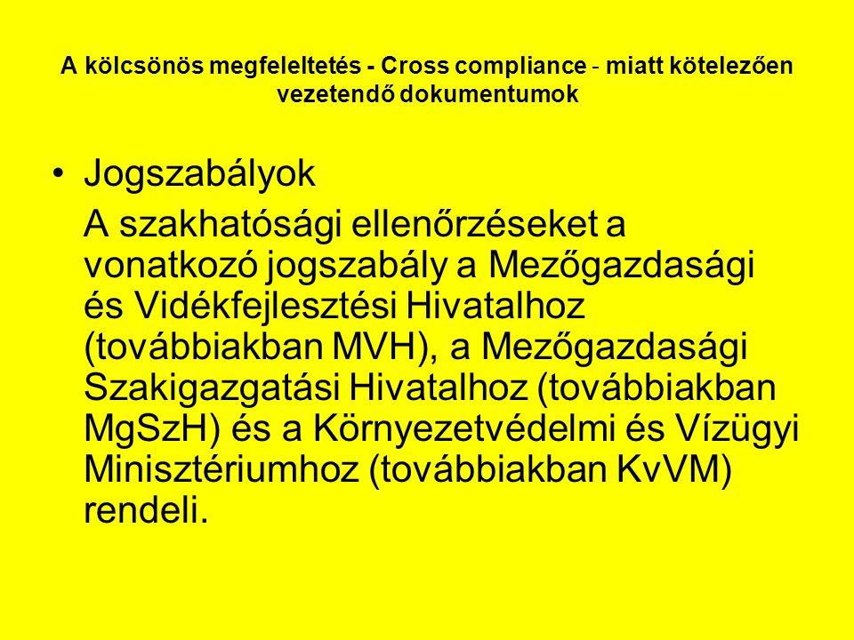 A kölcsönös megfeleltetés - Cross compliance - miatt kötelezően vezetendő dokumentumok