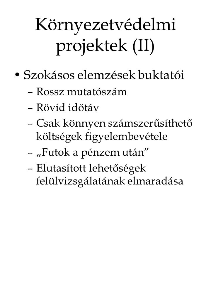 Környezetvédelmi projektek (II)