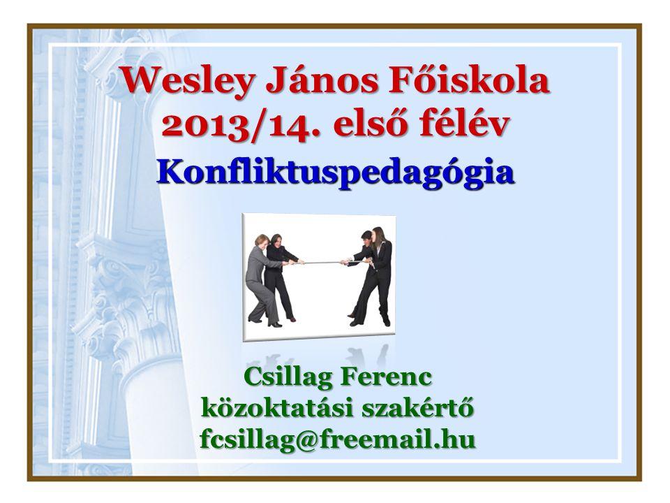 Wesley János Főiskola 2013/14. első félév