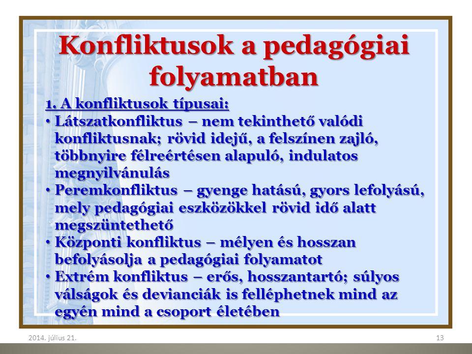 Konfliktusok a pedagógiai folyamatban