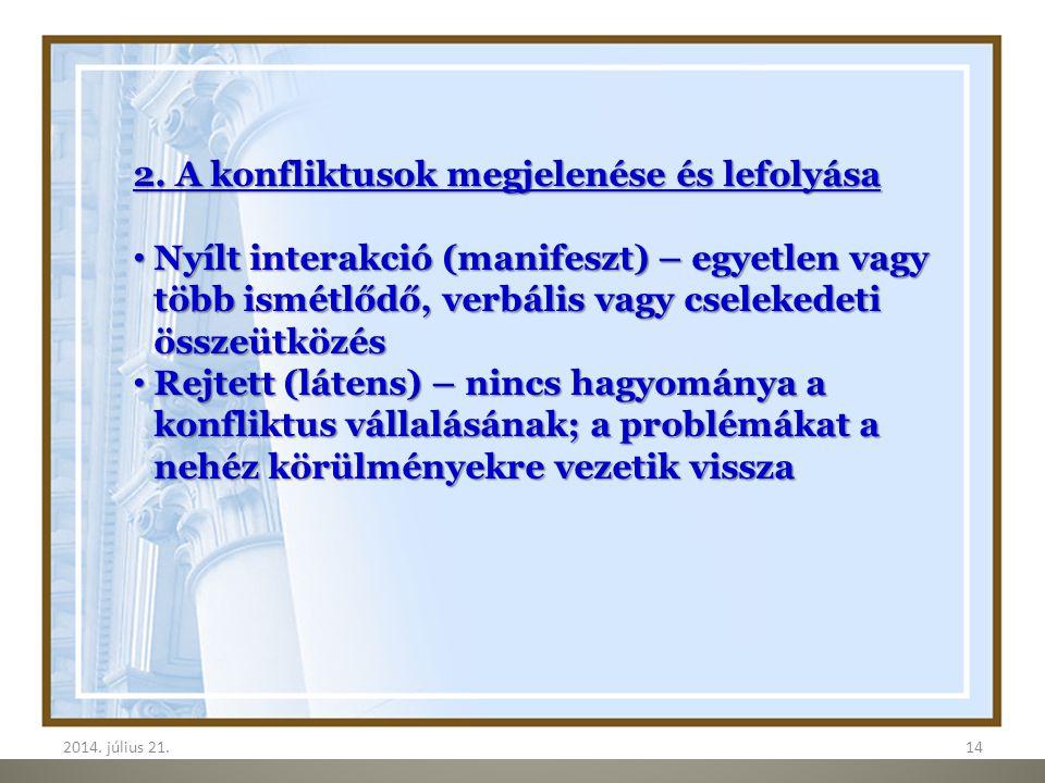 2. A konfliktusok megjelenése és lefolyása