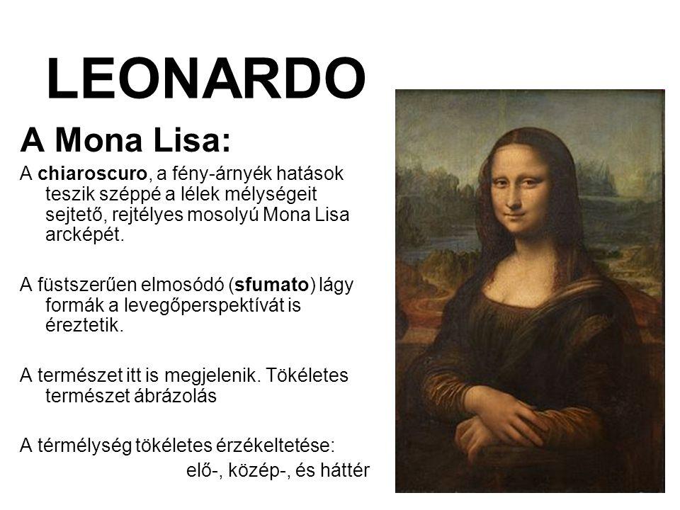 LEONARDO A Mona Lisa: A chiaroscuro, a fény-árnyék hatások teszik széppé a lélek mélységeit sejtető, rejtélyes mosolyú Mona Lisa arcképét.