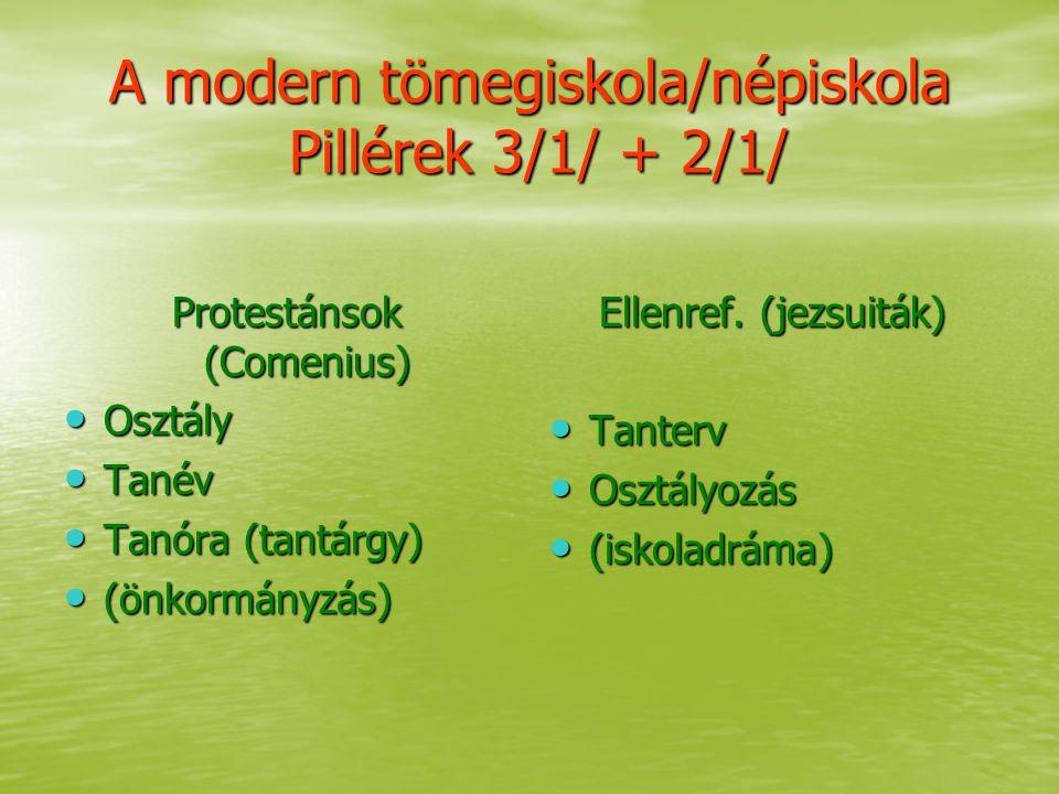 A modern tömegiskola/népiskola Pillérek 3/1/ + 2/1/