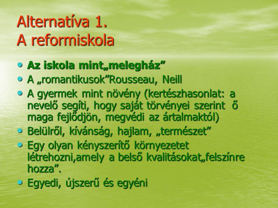 Alternatíva 1. A reformiskola